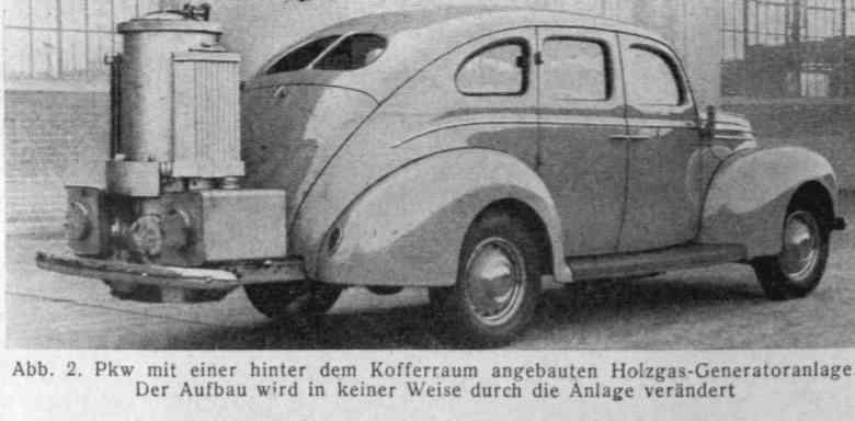 Большое количество газогенераторных автомобилей находилось в эксплуатации во время Второй мировой войны