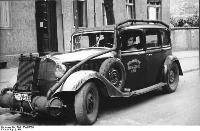 К концу войны в Германии было около 500.000 газогенераторных автомобилей